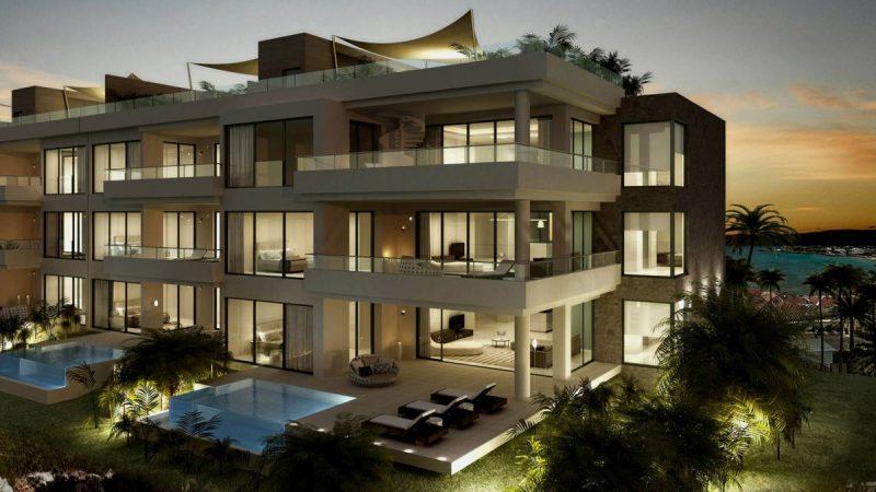 Une vue du soir pour l'immeuble de luxe de Saint Martin