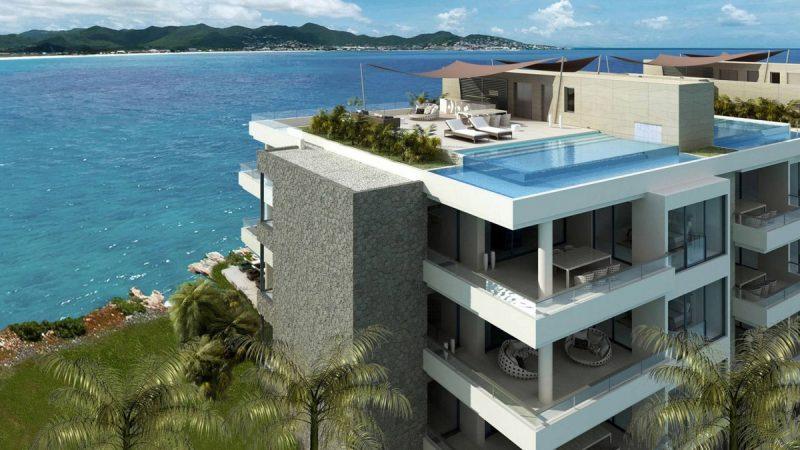 Les vues extérieures sur l'immeuble de luxe à Saint Martin