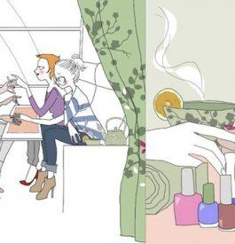 Une manucure en voyageant en train