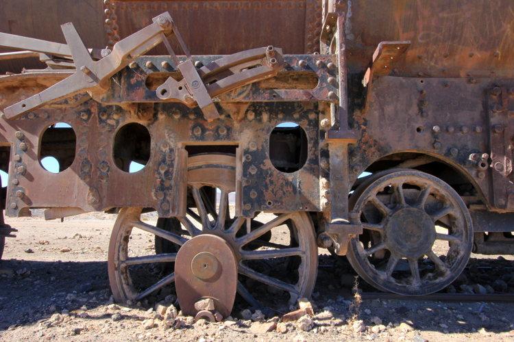 Les restes d'un train en Bolivie
