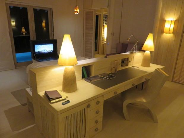 Espace bureau dans la villa du Soneva Jani aux Maldives