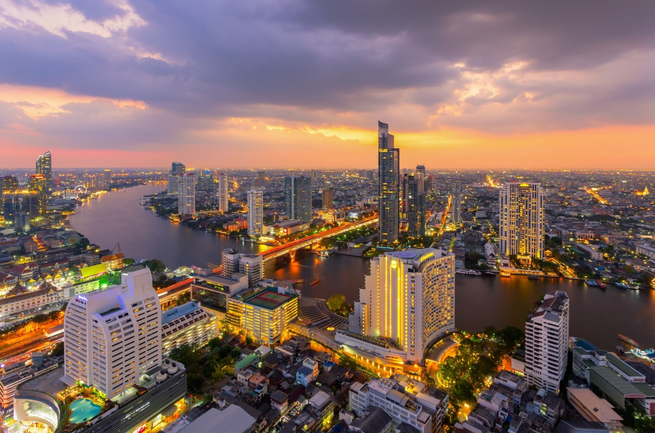 Vue bluffante depuis l'Intercontinental à Bangkok