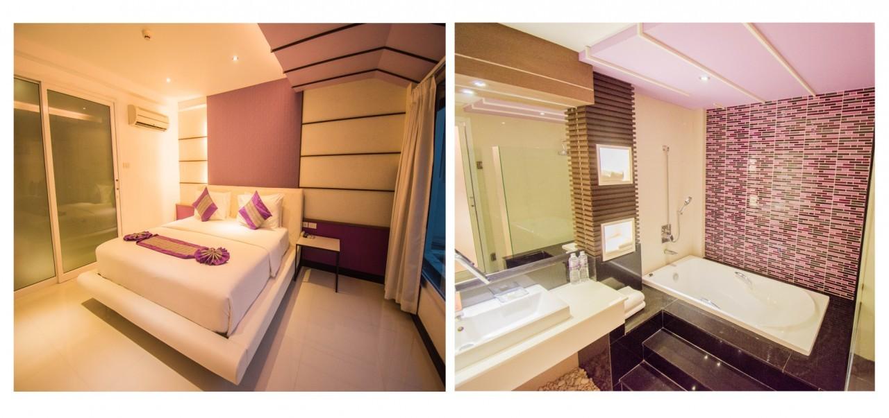 Dans la chambre et la salle de bain de la suite du L Resort à Krabi