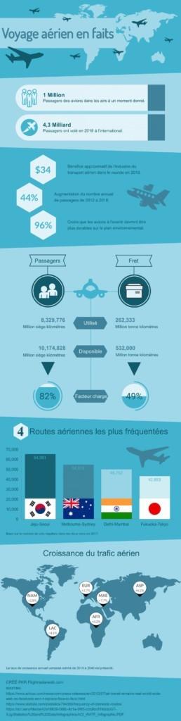 Voyage aerien en faits infographie par Flightradarweb