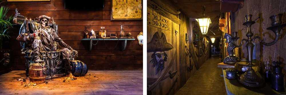 Des scènes reflétant l'époque des pirates sont parsemés dans le couloir