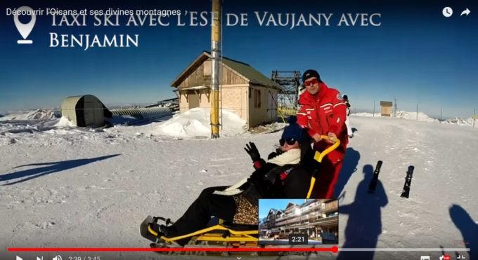Moi en taxi-ski avec mon guide Benjamin