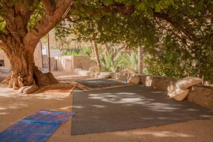 Espace de relaxation sur la route du wadi Tiwi