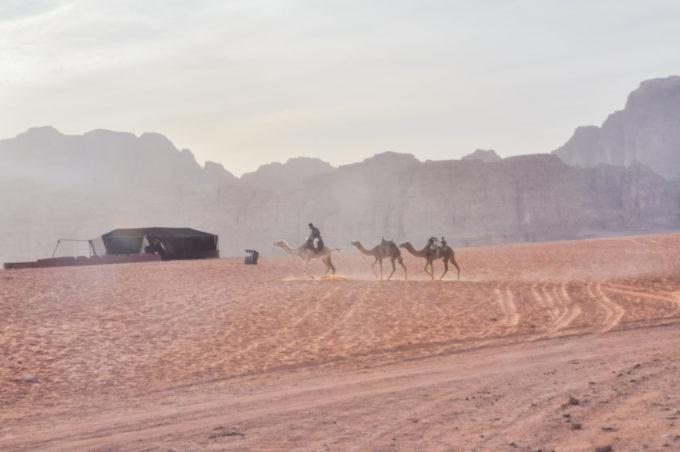 Avancer dans le désert du Wadi Rum