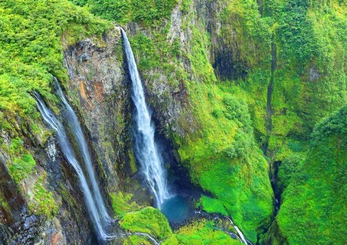 Les chutes d'eau au cirque Salazie à la Réunion