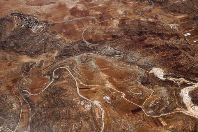 Vue aérienne sur la Jordanie depuis l'avion Royal Jordanian