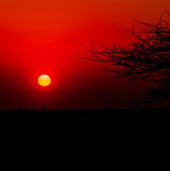 Coucher de soleil splendide en Namibie