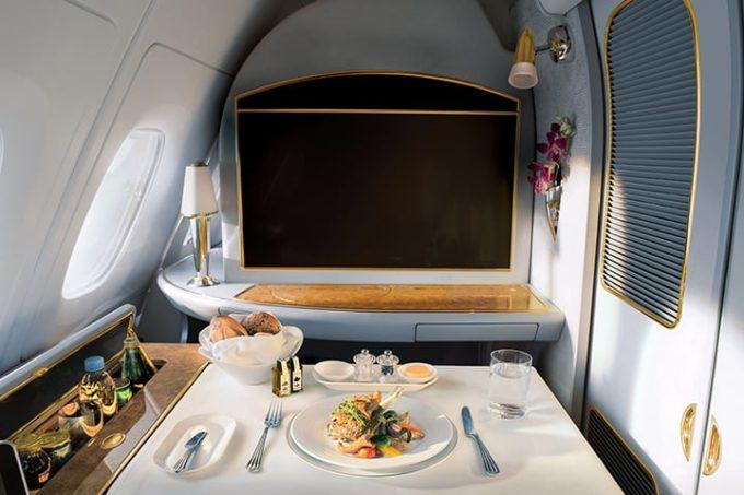 Le repas à bord chez Emirates