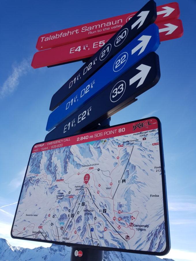 Le plan des pistes de ski du grand domaine skiable
