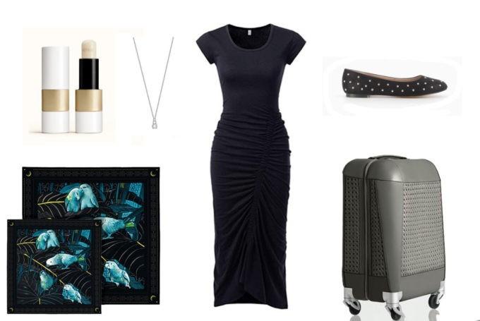 Baume à lèvres Hermès | Robe noire | Valise Avitor | Ballerines | Foulard Maison Fétiche | Bijou Collier Lotus