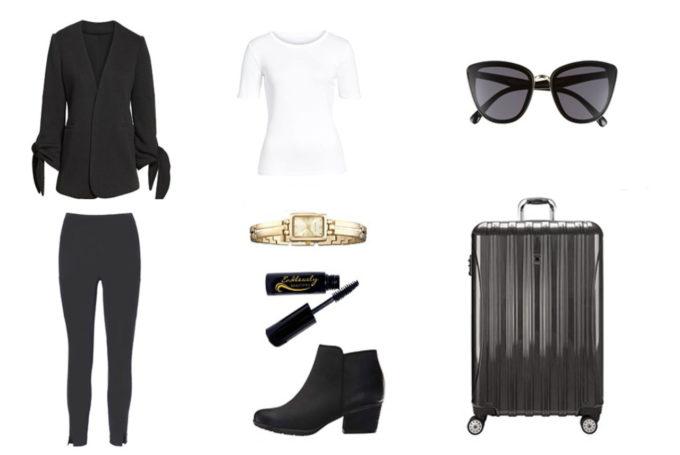 Blazer Olivia Moon | Tee shirt Nordstrom | Lunettes de soleil Nordstrom| Pantalon Athléta | Valise Delsey |Montre Anne Klein | Mascara | Boots