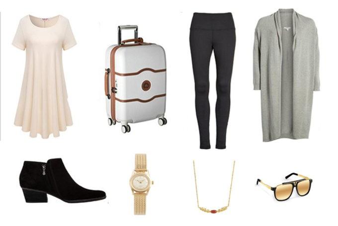 Cardigan Nordstrom | Robe | Leggings Zella | Valise Delsey | Collier Maty| Lunette de soleil Louis Vuitton| Boots | Montre Louis Pion