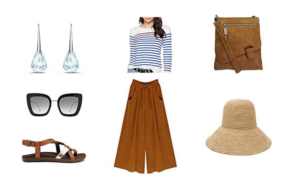 Jupe culotte, Nu pied, tee-shirt marin Armir Lux, Sac à bandoulières, Boucle d'oreilles, lunette de soleil Fendi, Chapeau paille