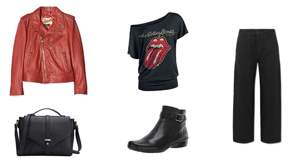 Veste en cuir Schott, sac, pantalon the Row, Tee shirt, boots,