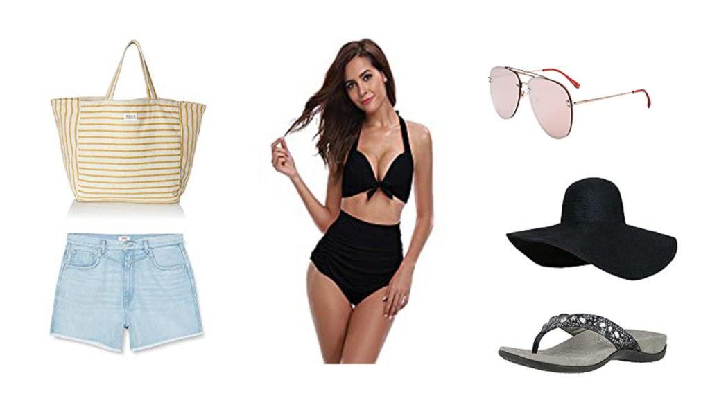short en jean Pépé Jeans, Maillot de bain, Sac cabas Roxy, lunette de soleil, Tong, Capeline