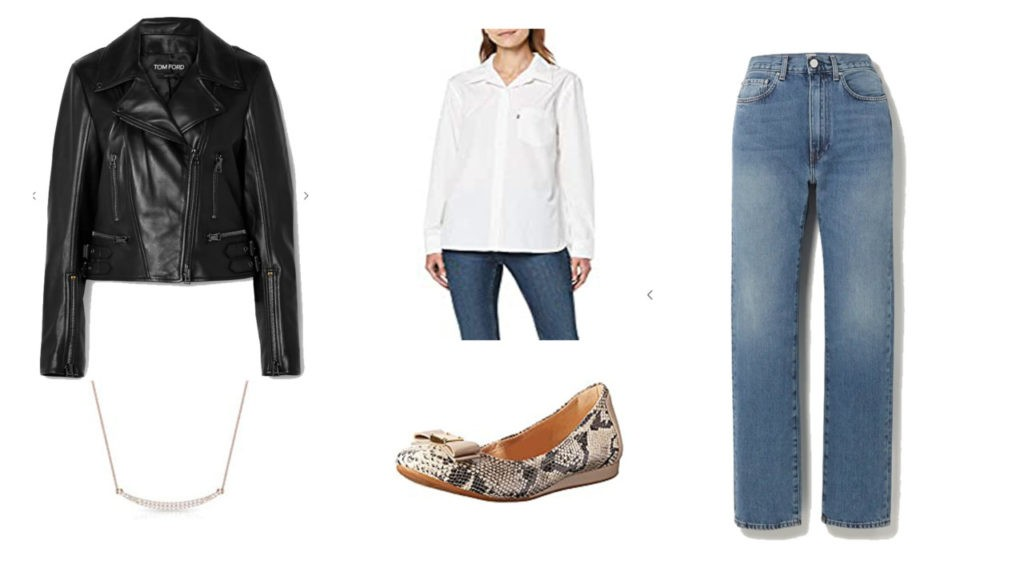 Veste en cuir Tom Ford, chemise blanche Levis, Jean Totem, Ballerine, Collier Rosec Jewels,