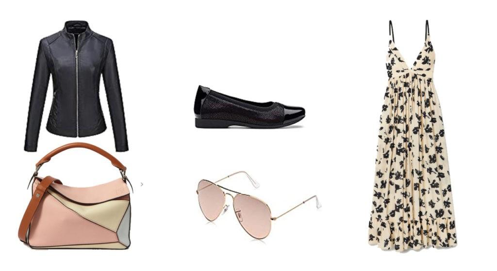 Veste en cuir, sac Loewe, lunette de soleil Rayban, ballerine Clarks, robe Proenza Schouler