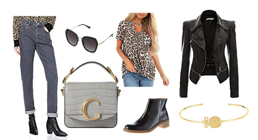 Pepe Jean, sac Chloé, lunette Rayban, boots Kickers, bracelet Maty, veste en cuir, et Blouse léopard
