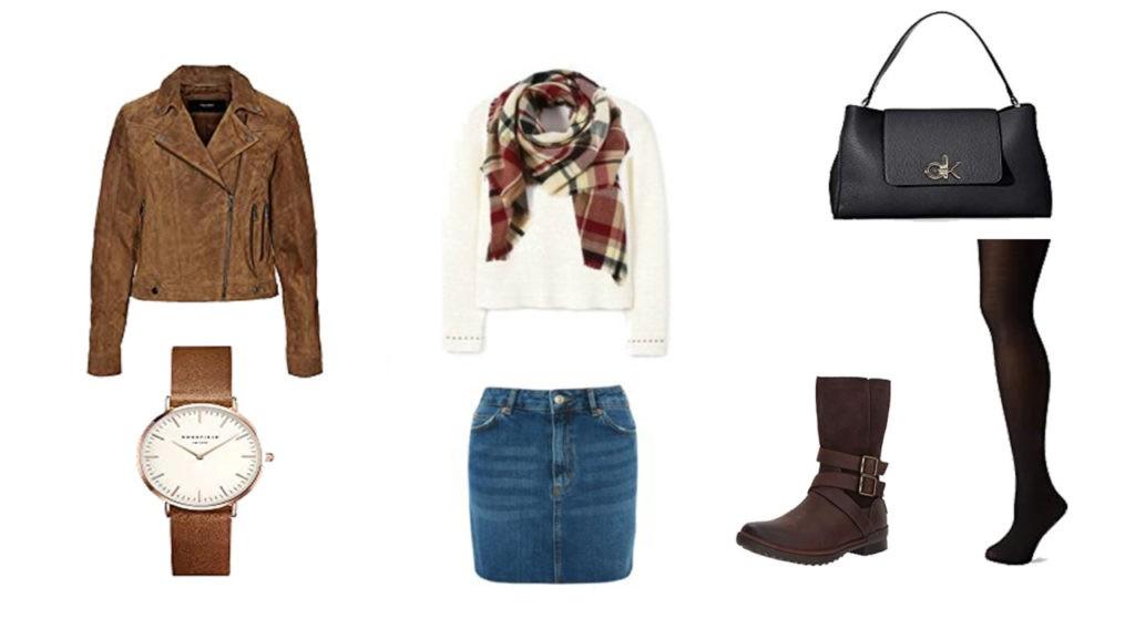 Veste en cuir Vero Moda, Sweat Hugo Boss, écharpe écossaise, collant dim, sac Calvin Klein, Montre Rosefield, boots UGC