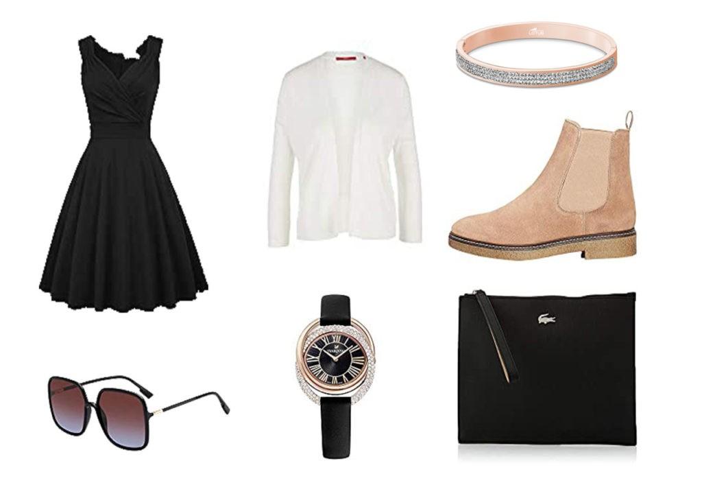 Robe noire, lunette de soleil DIOR, montre noire, pochette noire Lacoste, Cardigan crème, Boots