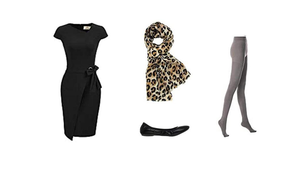 robe noire, foulard léopard, ballerine, collant opaque