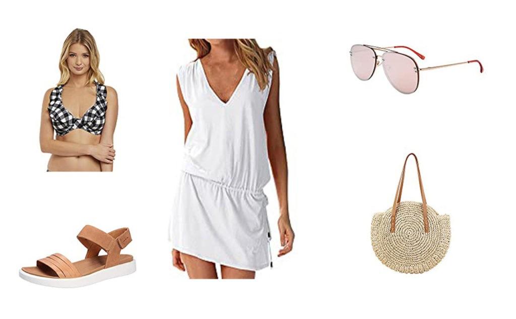 haut de maillot de bain Freya Swim, Sandales, robe de plage, lunette de soleil, sac en rafia