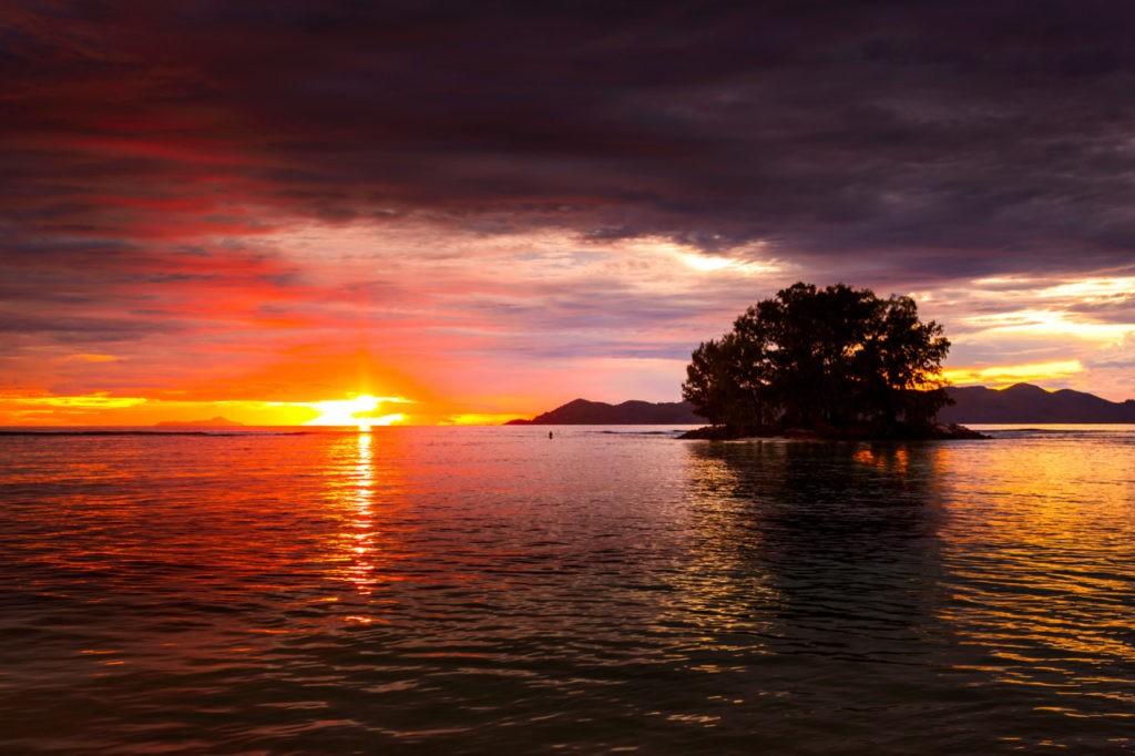oucher de soleil aux Seychelles