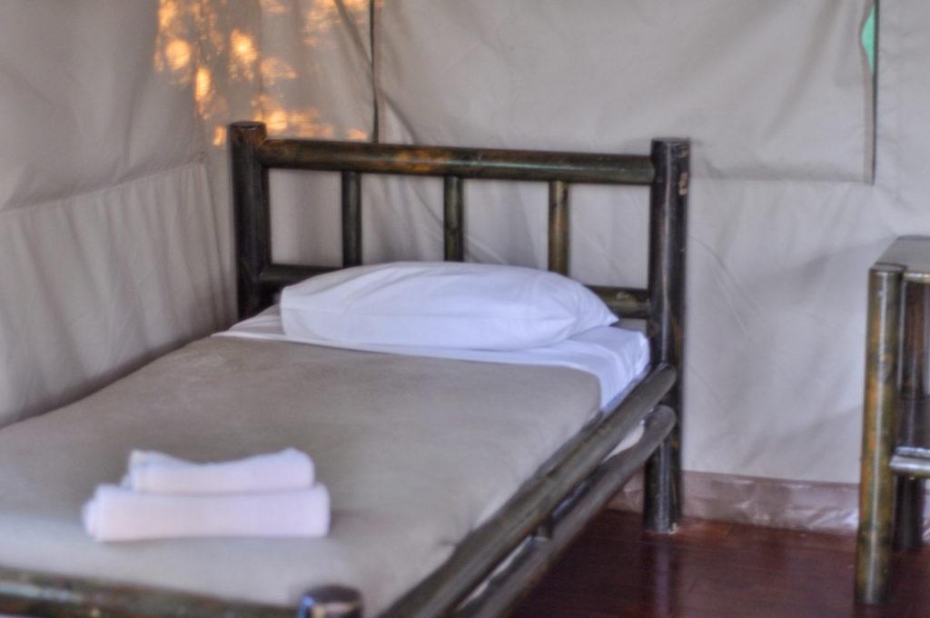 Le lit de notre nuit à Tamboti