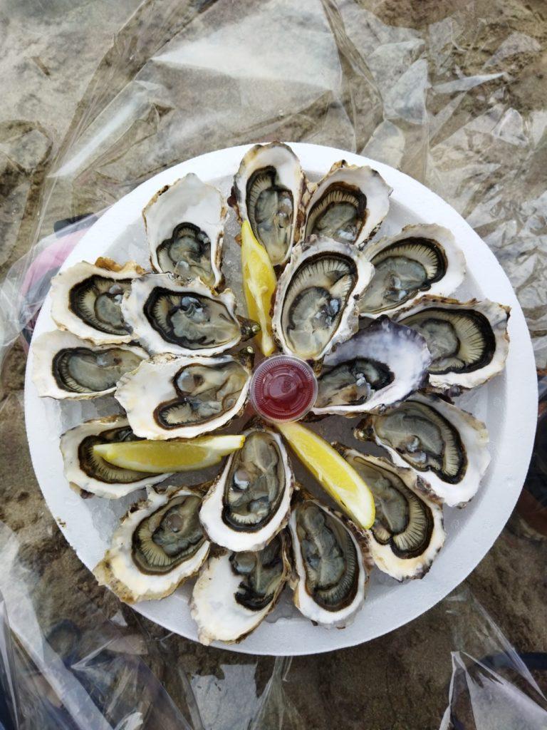 Un plat d'huîtres sur la plage