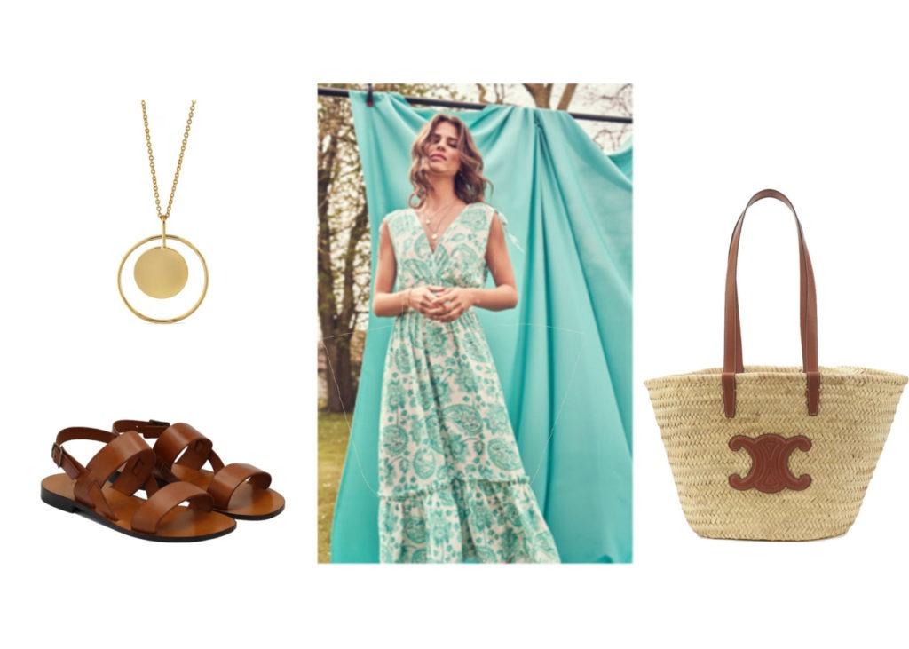 Sautoir Parfois 12,99€, robe LOLALIZA 49.99€, sac Céline 450 €, sandales cuir naturel Jules et Jenn 100 €