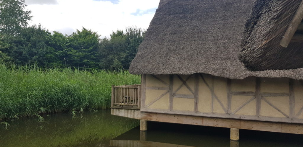 Des reconstitutions sur l'étang avec des villas