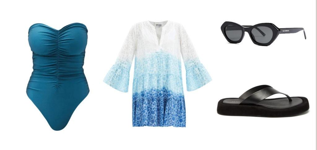 Maillot de bain / Jade Swim - Robe de plage / Juliet Dunn - Lunette de soleil / The Kooples - Sandales / The Row