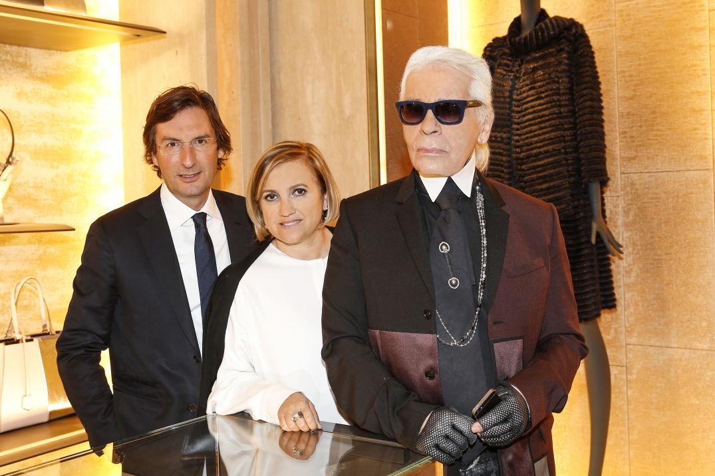 Karl Lagerfeld était présent pour l'ouverture de la boutique Fendi à Berlin