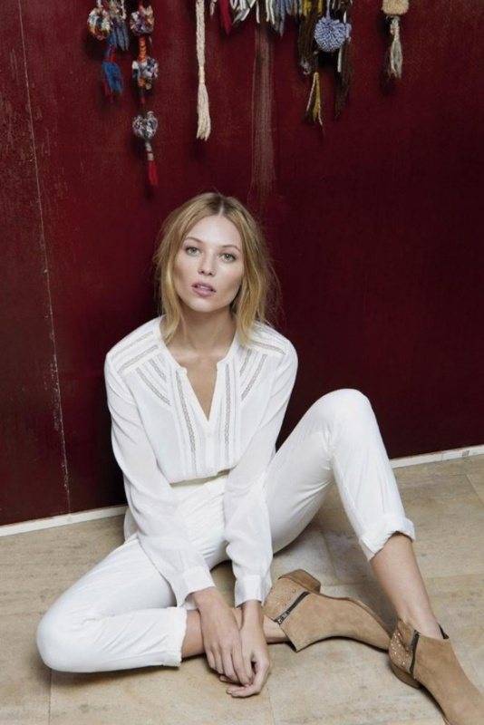 Chemisier blanc et pantalon blanc du comptoir des Cotonniers