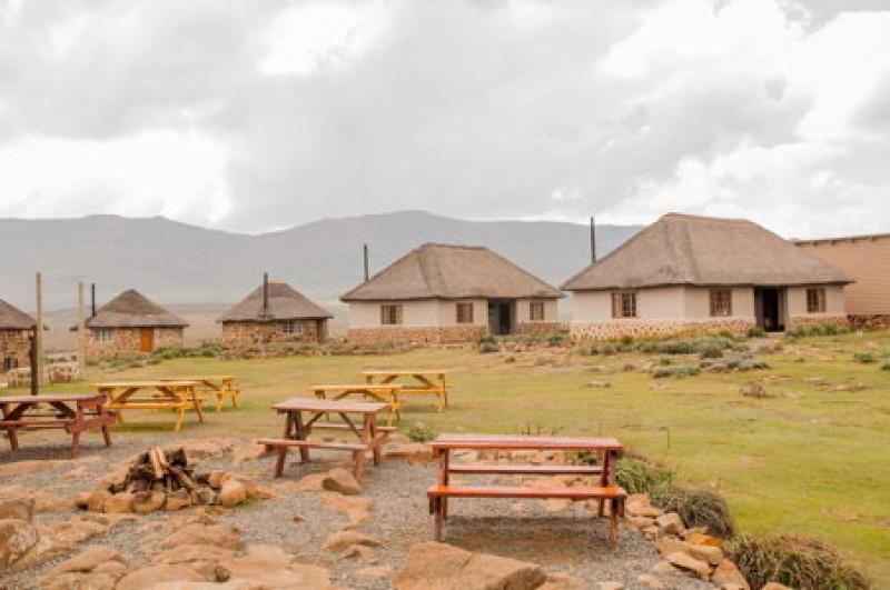 Les maisons du village du Sani-Pass au Lesotho