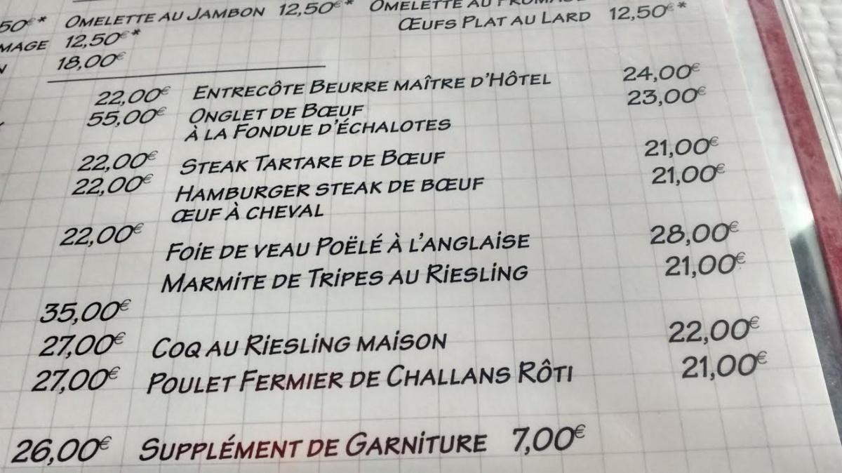 La carte de la brasserie de l'île Saint Louis - Paris