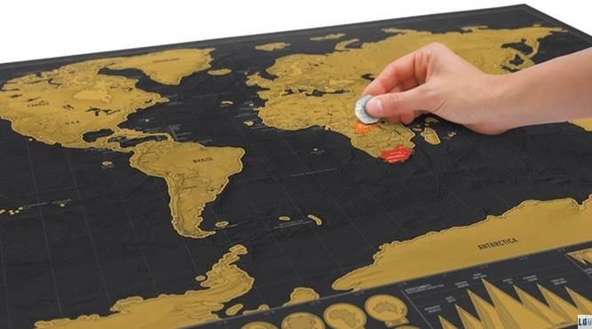 Carte du monde à gratter Idées cadeaux