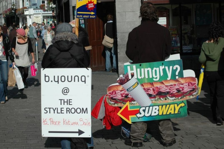 Homme sandwich à Dublin