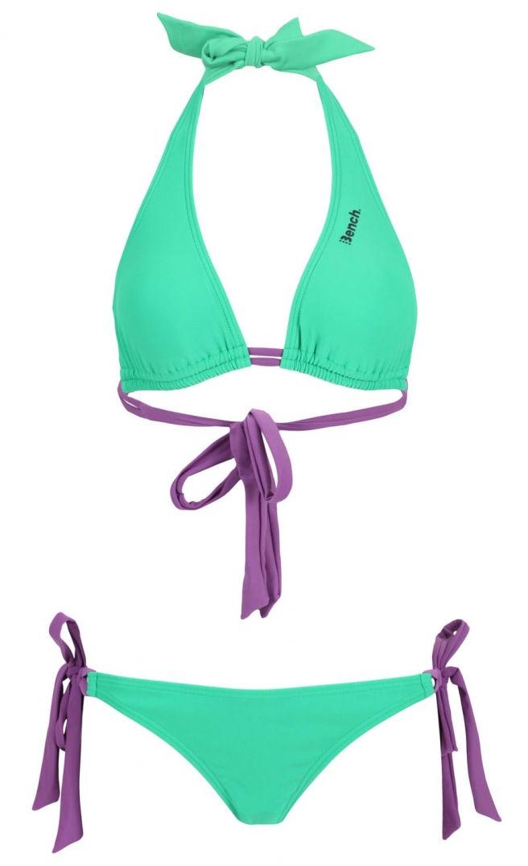 Bikini vert, lacet violet Bench