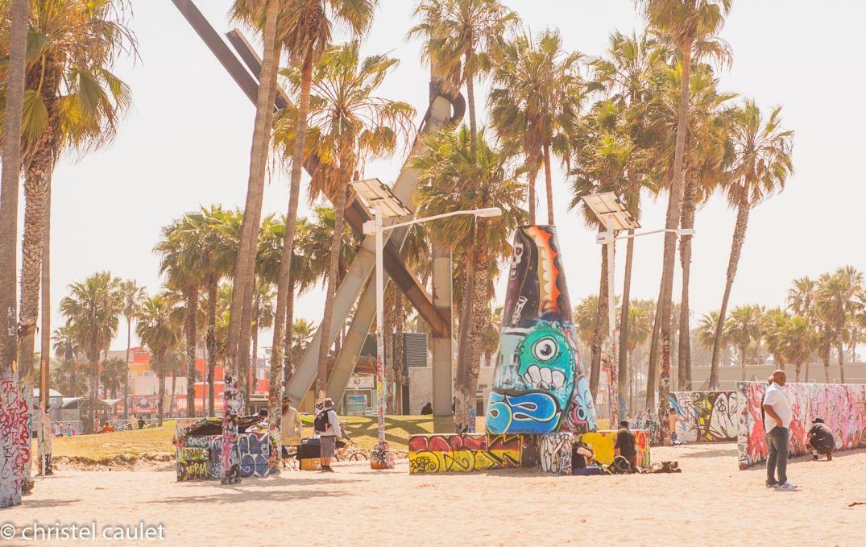 Le skate parc à Venice Beach à Los Angeles