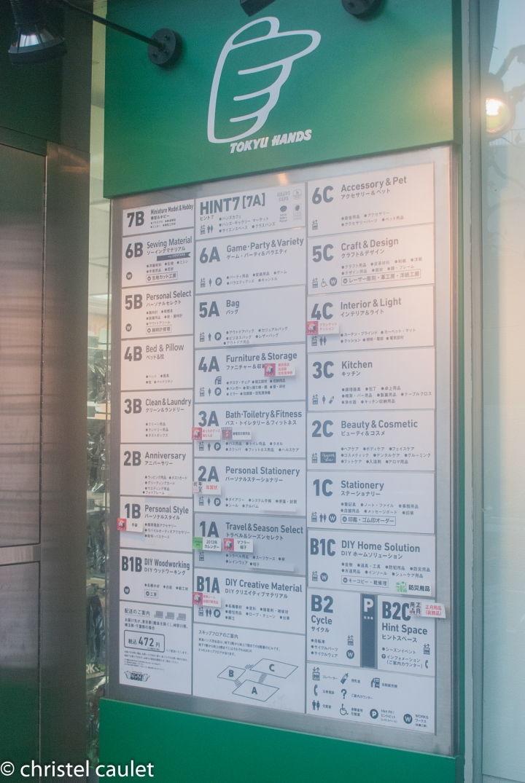 A l'attaque de Shibuya !Les magasins sont dans des immeubles. Au bas des immeubles, des pancartes vous expliquent les étages où aller selon les boutiques