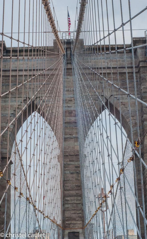 Sur le pont de Brooklyn à New York