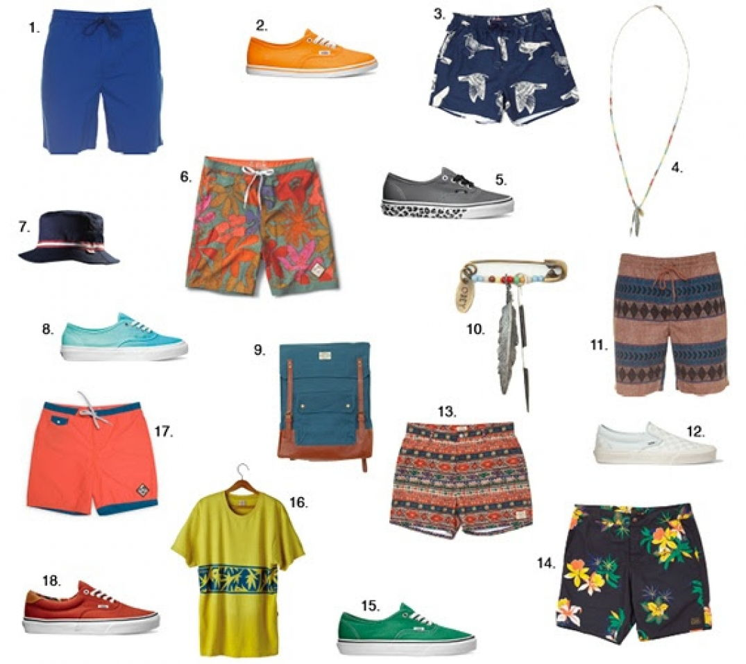 . Delator printed short blue, Volcom, 54,95€. 2. Authentic Lo Pro Neon Orange Pop, Vans, 65€. 3. Boardshort Port Street Trunk, Obey, 83€.4. Collier Indio Necklace Antique Brass, Obey, 48€. 5. Authentic Leopard Sidewall Pewter,Vans, 65€. 6. Boardshort JT Trimline Boardoshort 18 Olive Floral, Vans, 65€. 7. Bob Parkway Bucket Navy, Vans, 40€. 8. Authentic Slim Ombre Icy Green, Vans, 70€. 9. Sac à dos, Detour Map Backpack Mallard Blue, Obey, 88€.10. Broche Indio Pin Antique Brass, Obey, 35€. 11. Boardshort Delator printed short, Volcom 54,95€. 12. Classic Slip On Checkerboard True White, Vans, 65€. 13. Boardshort Barbados Street Trunks, Obey, 83€. 14. Boardshort Tourist Trunk Black, Obey, 83€. 15. Authentic Verdant Green True White, Vans, 65€. 16. Tee shirt Loews Cali Gold, Vans, 40€. 17. Boardshort JT Trimline boardshort 18 Living Coral Blue Steel, Vans, 60€. 18. Era 59 C&F Bossa nova Pale Khaki, Vans, 75€.
