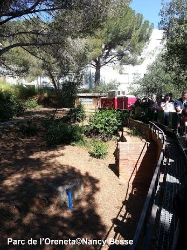 Prendre le train dans le parc de l'Oreneta