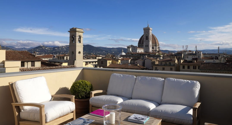 La terrasse du Palazzo Tornabuoni à Florence
