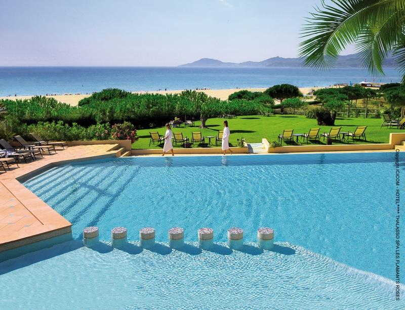 Vue sur la belle piscine de l'Hôtel les Flamants Roses à Canet-de-Roussillon